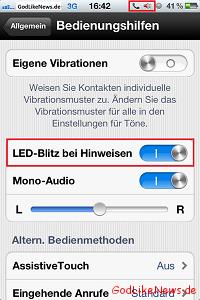 Anleitung - iPhone LED-Blitz als Signal bei HinweisenBenachrichtigungen aktiviereneinstellen - Artikelbild