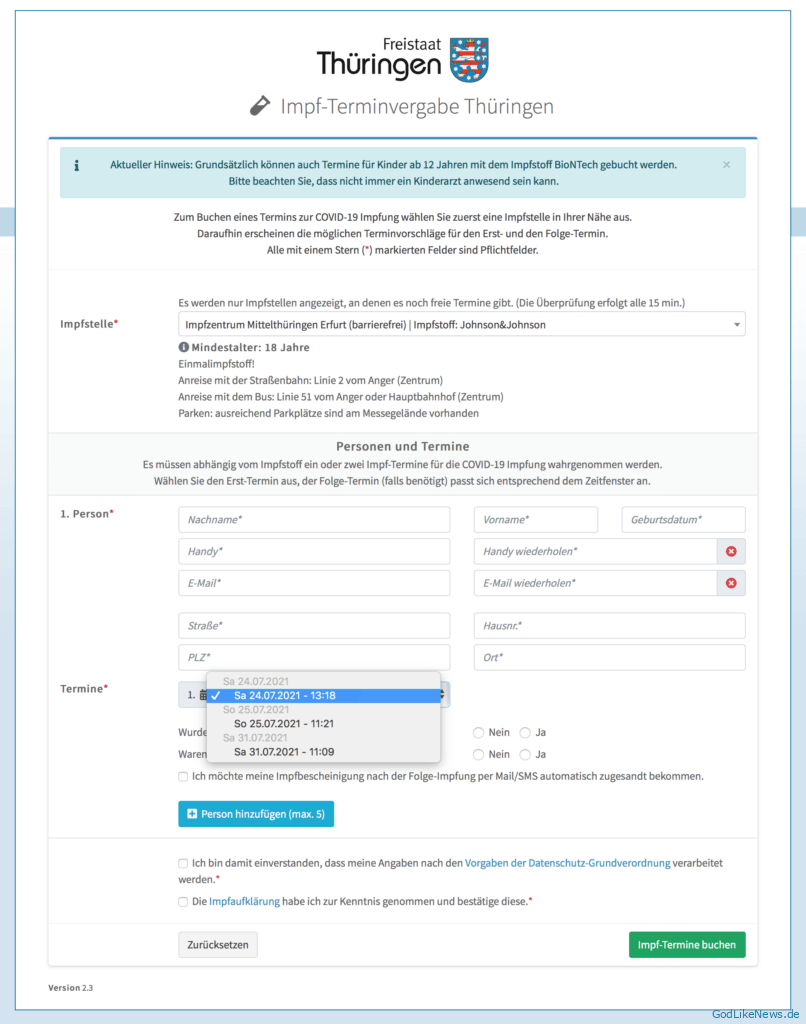 Corona Impfung - online Termin buchen Thueringen - Screenshot