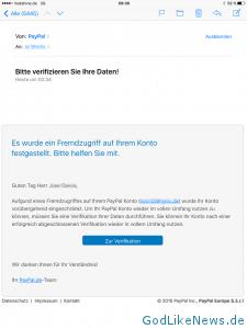 PayPal Phishing Mail 12.10.2015