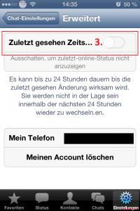 WhatsApp Zuletzt Online Last Seen Status ausschalten iPhone 2