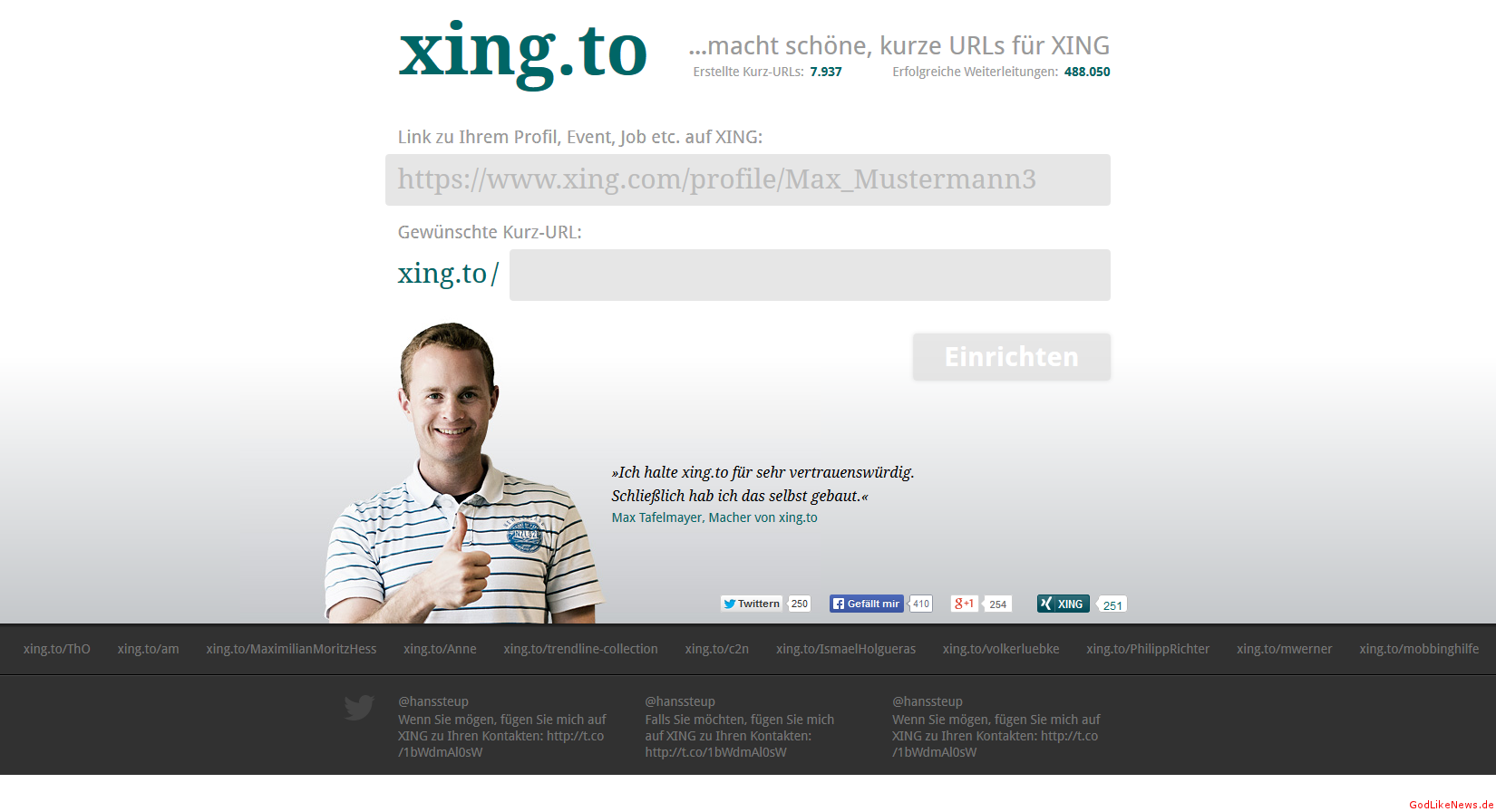 xing url personalisieren mit xingto  godlikenewsde