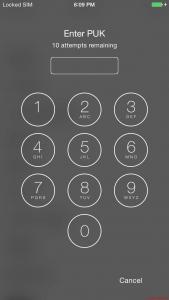 iOS - iPhone PUK Eingabe - PIN vergessen