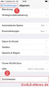 iPhone iPad iPod zuruecksetzen